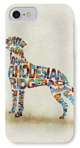 IPhone Case featuring the painting The Rhodesian Ridgeback Dog Watercolor Painting / Typographic Art by Ayse and Deniz