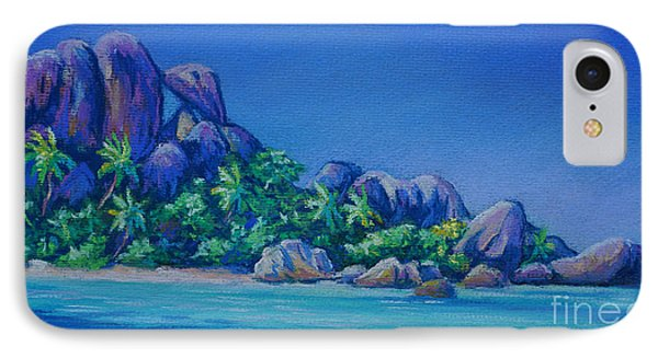 The Rocks On La Digue  Panoramic IPhone Case by John Clark