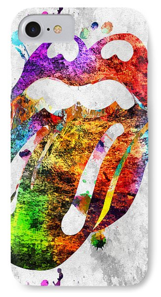 The Rolling Stones Logo Grunge IPhone Case by Daniel Janda
