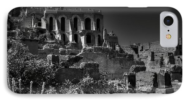 IPhone Case featuring the photograph The Roman Forum 001 Bw by Lance Vaughn