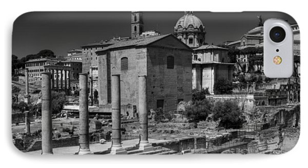 IPhone Case featuring the photograph The Roman Forum 003 Bw by Lance Vaughn