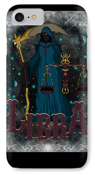 IPhone Case featuring the drawing The Scale - Libra Spirit by Raphael Lopez