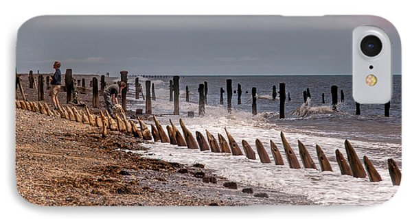 The Sea And Groynes IPhone Case by David  Hollingworth