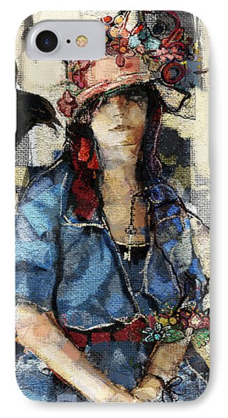 IPhone Case featuring the mixed media The Seer by Carrie Joy Byrnes