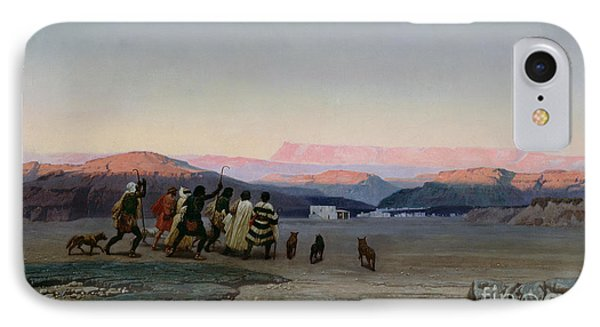 The Shepherds Led By The Star Arriving At Bethlehem IPhone Case by Octave Penguilly lHaridon