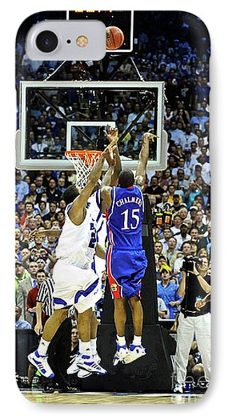 Larry Bird iPhone 7 Case - The Shot, 3.1 Seconds, Mario Chalmers Magic, Kansas Basketball 2008 Ncaa Championship by Thomas Pollart