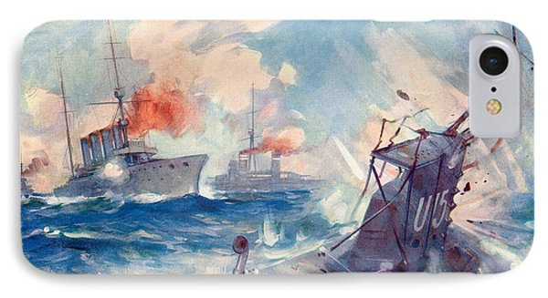 The Sinking Of A German U Boat After Being Rammed By The British Cruiser  IPhone Case by English School