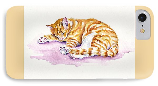 Cat iPhone 7 Case - The Sleepy Kitten by Debra Hall