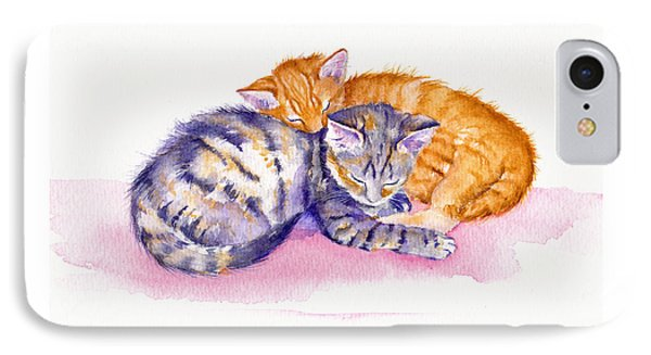 Cat iPhone 7 Case - The Sleepy Kittens by Debra Hall
