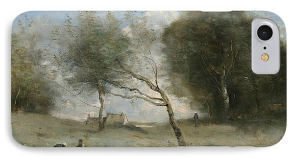 The Small Farm Meadows IPhone Case by Jean-Baptiste-Camille Corot