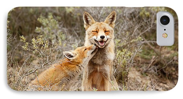 The Smiling Vixen And The Happy Kit IPhone Case by Roeselien Raimond