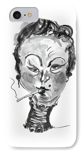 IPhone Case featuring the mixed media The Smoker - Black And White by Marian Voicu