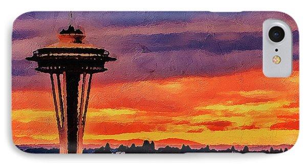 IPhone Case featuring the digital art The Space Needle by PixBreak Art