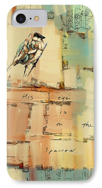 IPhone Case featuring the mixed media The Sparrow by Carrie Joy Byrnes