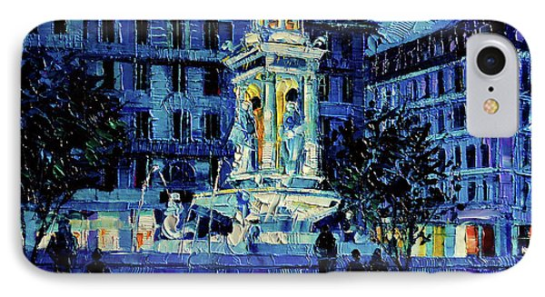 The Square Of Jacobins Illuminated - Lyon France - Modern Impressionist Palette Knife Painting IPhone Case