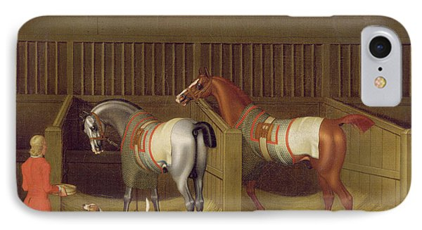 The Stables And Two Famous Running Horses Belonging To His Grace - The Duke Of Bolton IPhone Case