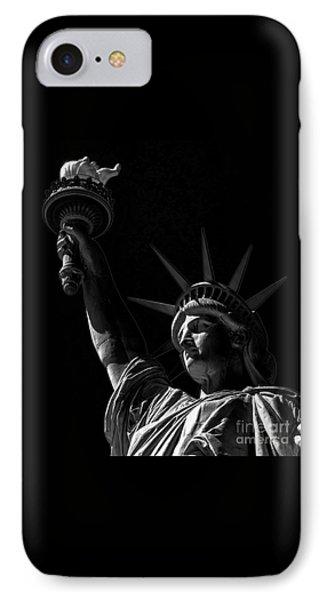 The Statue Of Liberty - Bw IPhone Case by James Aiken