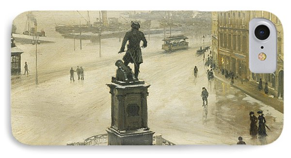 The Statue Of Tordenskiold Facing Piperviken IPhone Case by Paul Fischer