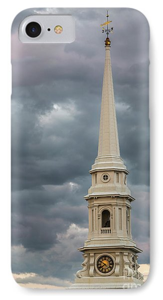 The Steeple And The Storm IPhone Case by Tony Baldasaro