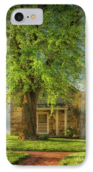 The Stone Cottage On A Spring Evening IPhone Case by Lois Bryan