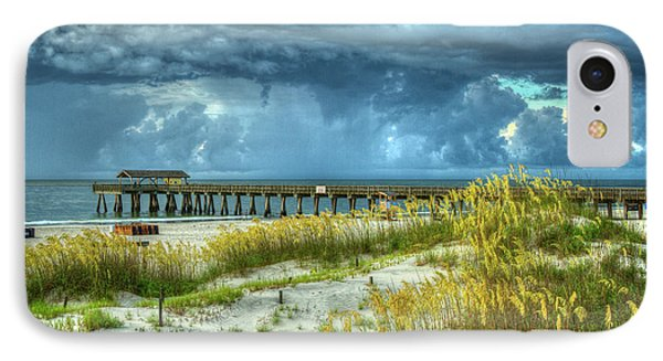 The Storm Tybee Island Pier Sea Oats Art IPhone Case by Reid Callaway