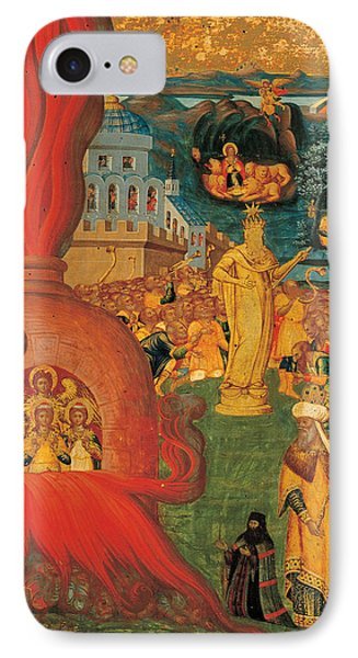 The Story Of Daniel And The Three Youths In The Fiery Furnace IPhone Case by Konstantinos Adrianoupolitis