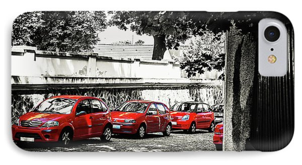 The Street Of Red Cars IPhone Case by Jenny Rainbow