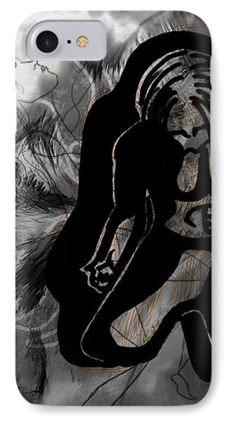 IPhone Case featuring the drawing The Struggle Within by Sheila Mcdonald