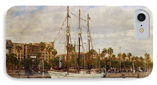 The Tall Ship - Barcelona IPhone Case by Mary Machare