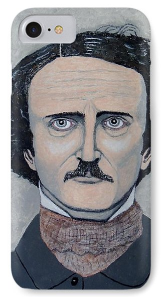 IPhone Case featuring the painting The Telltale Heart Of Edgar Allen Poe. by Ken Zabel