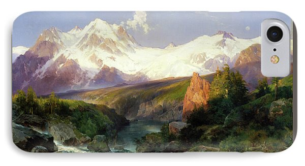 IPhone Case featuring the painting The Teton Range Painting By Thomas Moran                               by Thomas Moran