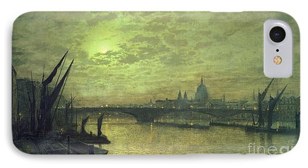 The Thames By Moonlight With Southwark Bridge IPhone Case by John Atkinson Grimshaw