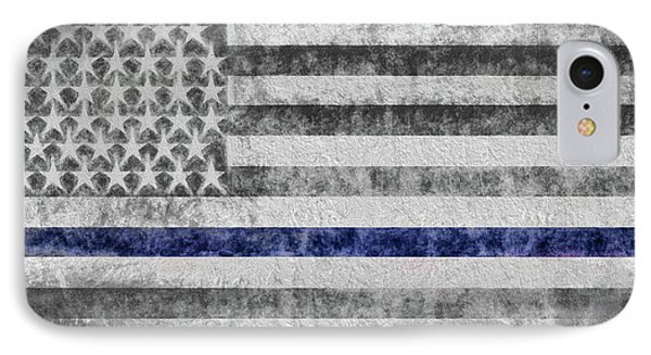 IPhone 7 Case featuring the digital art The Thin Blue Line American Flag by JC Findley