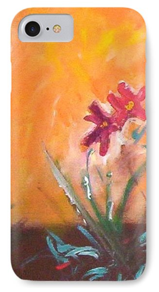IPhone 7 Case featuring the painting The Three Daisies by Winsome Gunning