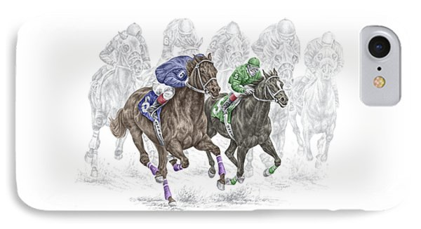 The Thunder Of Hooves - Horse Racing Print Color IPhone Case by Kelli Swan