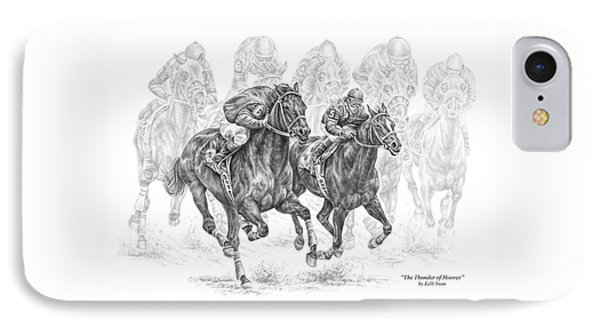 The Thunder Of Hooves - Horse Racing Print IPhone Case by Kelli Swan