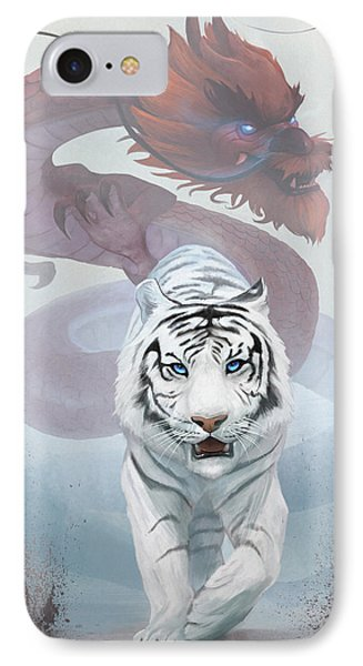 IPhone Case featuring the digital art The Tiger And The Dragon by Steve Goad