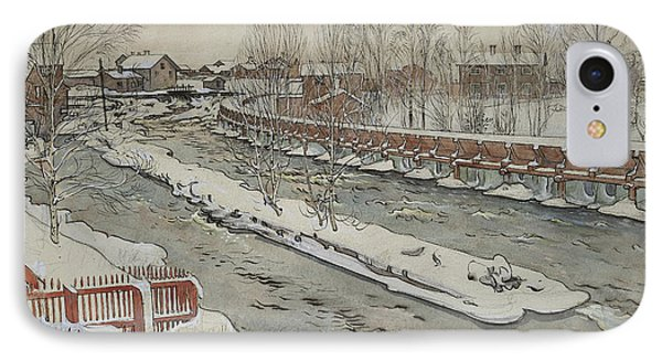 The Timber Chute, Winter Scene IPhone Case by Carl Larsson