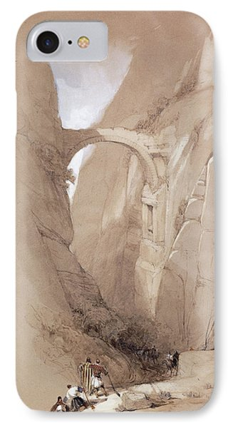 The Triumphal Arch Crossing The Ravine Leading To Petra, 1839 IPhone Case by David Roberts