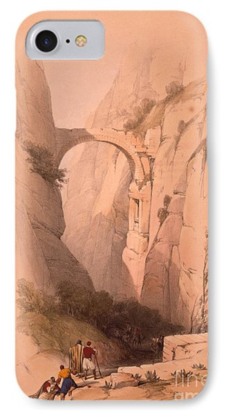 The Triumphal Arch Crossing The Ravine Leading To Petra IPhone Case by MotionAge Designs