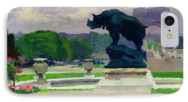 The Trocadero Gardens And The Rhinoceros Phone Case by Jules Ernest Renoux
