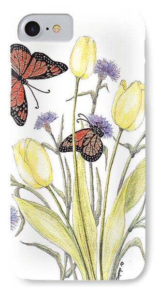 IPhone Case featuring the painting The Tulip And The Butterfly by Stanza Widen