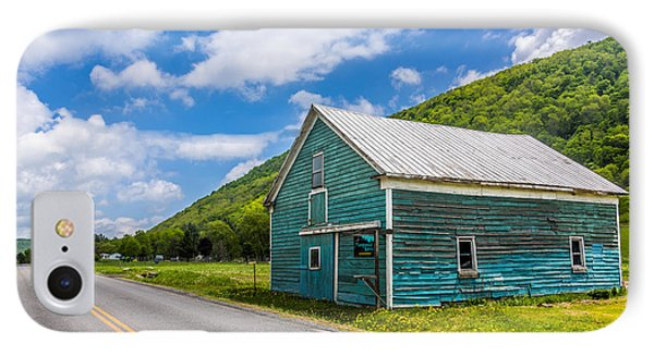 IPhone Case featuring the photograph The Turquoise Barn by Paula Porterfield-Izzo
