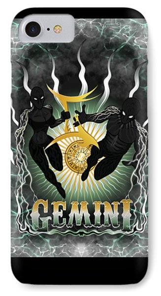 IPhone Case featuring the drawing The Twins - Gemini Spirits by Raphael Lopez