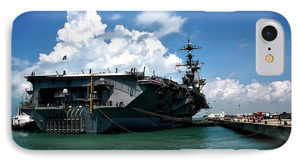 The U S S John C Stennis In Port IPhone Case by Mountain Dreams