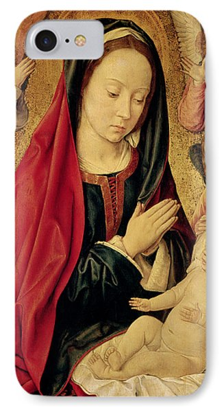 The Virgin And Child Adored By Angels  IPhone Case by Jean Hey