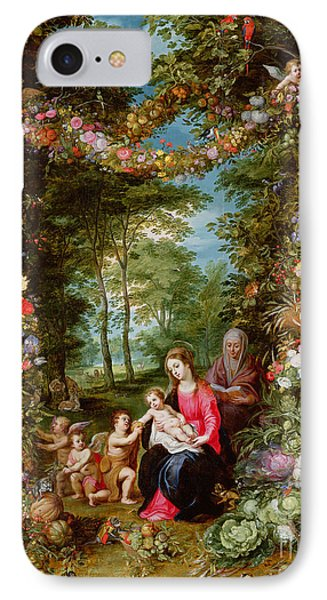 The Virgin And Child With The Infant Saint John The Baptist, Saint Anne And Angels, Surrounded By A  IPhone Case by Brueghel and Balen