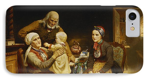 The Visit To The Grandparents IPhone Case by Adolph Tidemand