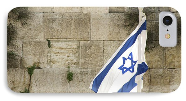 IPhone Case featuring the photograph The Wailing Wall And The Flag by Yoel Koskas