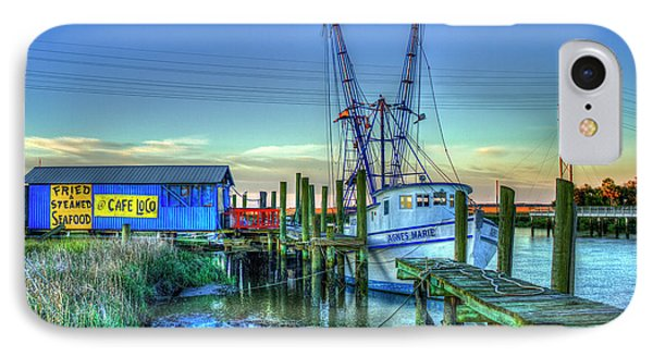 IPhone Case featuring the photograph The Waiting Shrimper Tybee Island Dawn Art by Reid Callaway